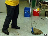 cleaner mopping a floor