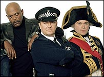 Samuel L Jackson, Ricky Gervais and Ross Kemp in Extras