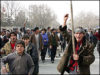 Muslim protesters shout slogans during a demonstration in Kabul, Afghanistan