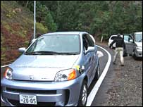 Honda FCX on Yakushima road