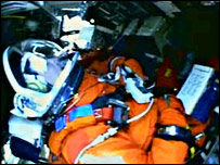 Discovery's crew is strapped into the orbiter (Nasa)