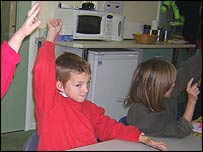 Child raises his hand to speak