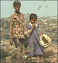 Street children in Dhaka on a dumping ground