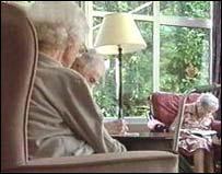 Elderly care home residents