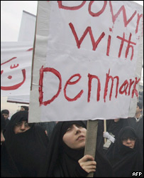 Iranian protestors marching against the Danish cartoons