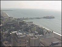 Aerial view of Brighton