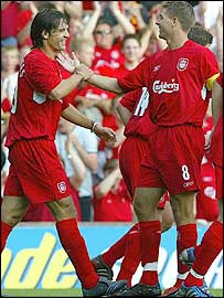 Steven Gerrard (right) celebrates his first with Fernando Morientes