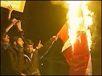 Iranian protesters outside the Danish embassy in Tehran