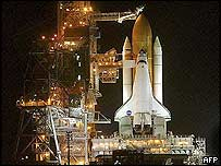 Space shuttle Discovery at launch pad in Florida