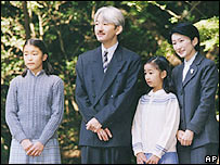 Japan's Prince Akishino and his wife, Princess Kiko, pose with their daughters, Mako, left, and Kako, Nov. 1, 2005.
