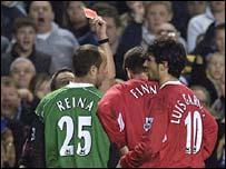 Jose Reina is shown the red card at Stamford Bridge