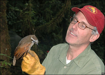 Joint expedition leader Bruce Beehler with a female Berlepsch's Six-Wired Bird of Paradise