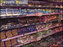 Confectionery in supermarket, BBC