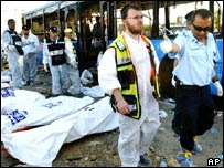 Police officers gather bodies in front of a destroyed bus at the scene of a suicide bombing in the Israeli city of Beersheba in August, 2004