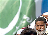 A Pakistani man at a protest meet against Prophet Muhammad cartoons