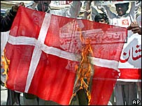 Pakistani protestors burn a Danish flag to condemn Prophet Muhammad cartoons