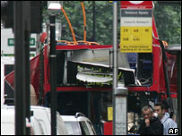 Bombed Number 30 bus in Tavistock Square, London