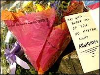 Flowers left at King's Cross