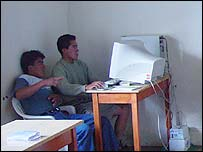 "Peruvians working at a village ""telecentre"" in Cajamarca, Peru"