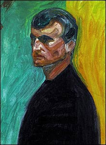 Munch's self-portrait in front of two-coloured background