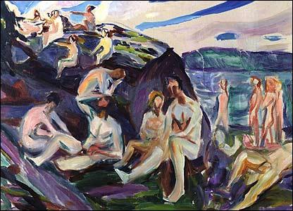 Munch's Portrait of men bathing