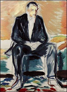 Munch's self-portrait recovering from Spanish flu