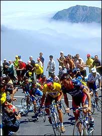 Riders led by Lance Armstrong in action in the Pyrenees