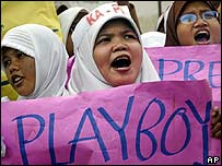 Indonesian Muslim protesters shout slogans during an anti-pornography rally in Jakarta