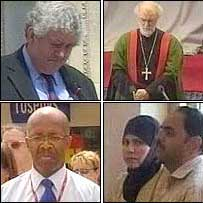 Clockwise from the left Rhodri Morgan, the Archbishop of Canterbury Dr Rowan Williams, and people at Cardiff station and in Wrexham town centre