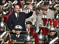 President Chirac reviewing troops, 14 July 05