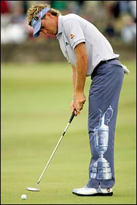 Ian Poulter wearing his new trousers