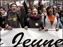 French protesters march in Bordeaux against a proposed youth jobs contract
