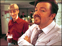 Ricky Gervais and MacKenzie Crook in The Office Christmas Special