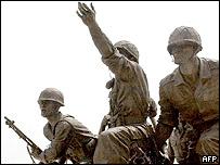 A bronze statue of soldiers at the Korean war Memorial in Seoul, 24 June 2005.