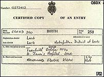 Birth certificate of Mohammad Sidique Khan
