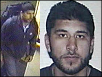 Hasib Mir Hussain, on CCTV at Luton, left and on his driving licence