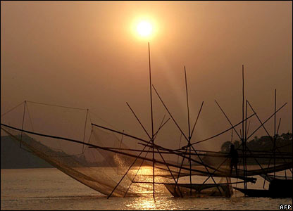 Fishing nets on the river of Brahmaputra, India