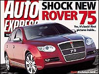 Front cover of Auto Express magazine showing new Rover 75