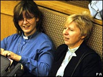 Two women clergy at the Synod on Monday