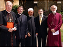 Dr Rowan Williams with Cardinal Cormac Murphy-O'Connor, Dr David Coffey,  Sir Jonathan Sacks and Sheikh Dr Zaki Badawi