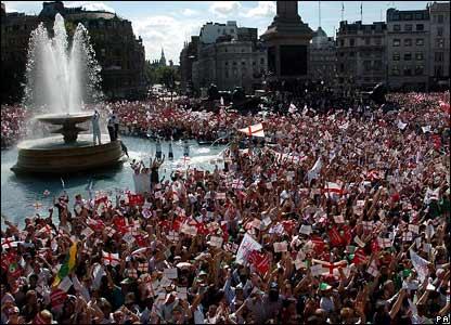 Ashes victory parade in Trafalgar Square
