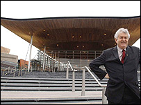 First Minister Rhodri Morgan outside the Senedd