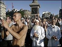 People at the vigil in Trafalgar Square