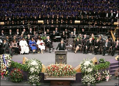 President Bush delivers a eulogy