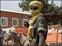 A Chadian soldier in the border town of Adre