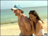 Lee and Jayne on Celebrity Love Island - not as nice as Cornwall or Pembrokeshire though