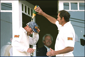 Thorpe is soaked in champagne at Trent Bridge