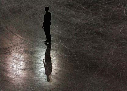 A figure skater puts in some late-night practice ahead of the Winter Olympics