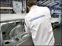Volkswagen worker putting car together