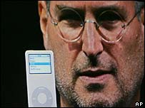 Apple's Steve Jobs with the iPod nano